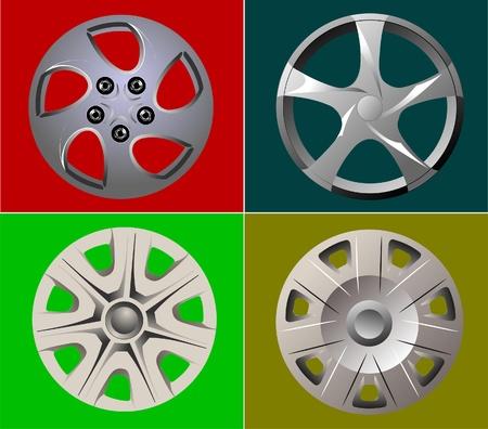 Decorative car wheel covers. Plate. Vector illustration Vector