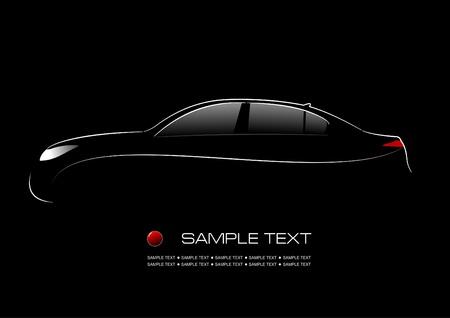 white car: Silhouette bianca di auto su sfondo nero. Illustrazione vettoriale