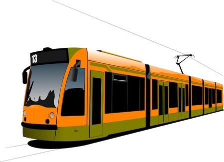 tramway: City transport. Tram. Vector illustration Illustration