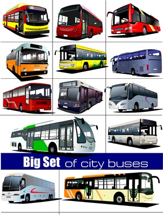 tourist: Big set of city buses. Coach. Vector illustration