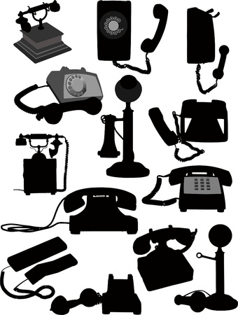 dialplate: Big set of old phones silhouette. Vector illustration