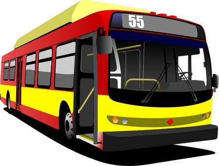 servicios publicos: Autobuses de la ciudad de rojo. Entrenador. Ilustraci�n vectorial