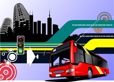 Abstract hi-tech background with city bus image. Vector illustration Vector