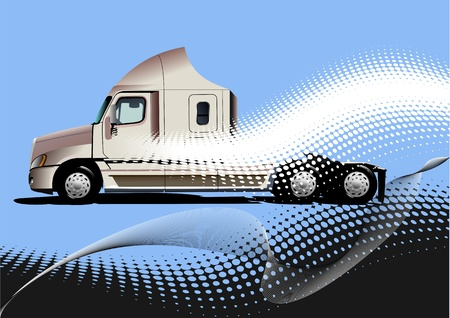 Blue abstract background with truck image. Vector illustration Vector