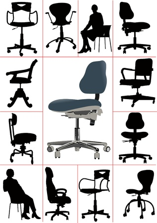 vacancies: Big set Illustrations of office chairs isolated on white background. Vectors Illustration