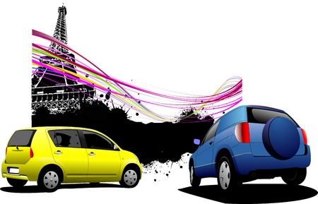 Two cars with Paris image background. Vector illustration Vector