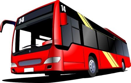 bus station: Red city bus. Coach. Vector illustration Illustration
