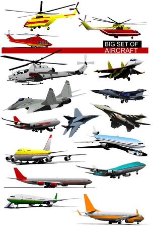 helicopter pilot: Big set of aircraft. Vector illustration