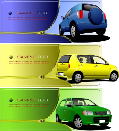 Trois bannières avec fermeture à glissière ouvrent la voiture. Illustration vectorielle Vecteurs