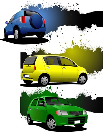 Three grunge banners with car images. Vector illustration Vector
