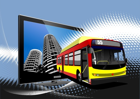 Blue dotted background with Flat computer monitor and bus image. Vector illustration Vector