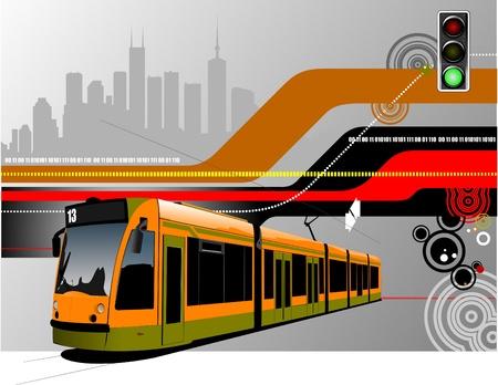 tramway: Estratto hi-tech con l'immagine di sfondo tram. Vector illustration