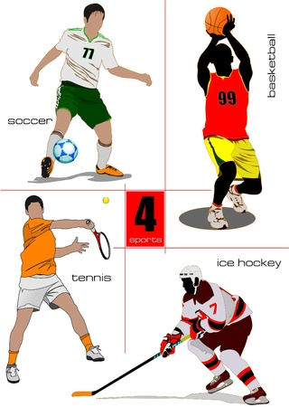 Four kinds of sport games. Football, Ice hockey, tennis, soccer, basketball. Vector illustration Vector