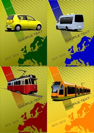 tramway: Copertina per brochure o un modello con silhouette Europa. Vector illustration Vettoriali