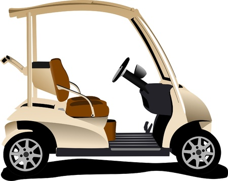 Electrical golf car on isolated white background. Vector illustration