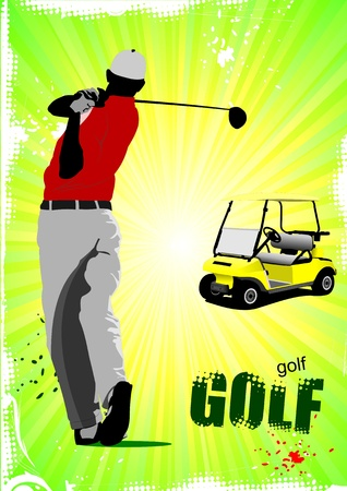 golfer swinging: Colored poster of Golfers hitting ball with iron club and electrical car image. Vector illustration