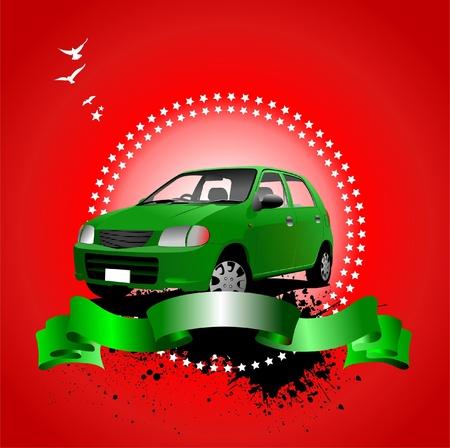 rarity: Rarity cars club award on sunrise background. Cover for brochure. Vector illustration for designers