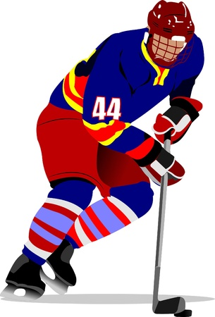 puck: Ice hockey players. Colored Vector illustration for designers