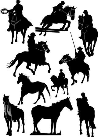 Ten horse silhouettes. Vector illustration Vector
