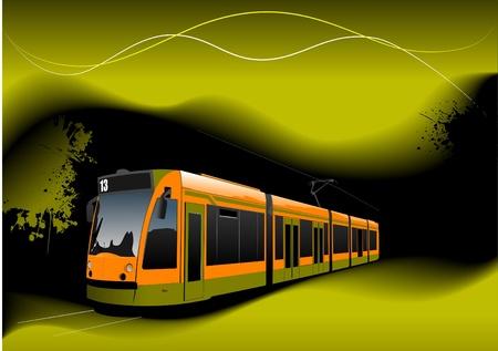 tramcar: City transport on black-yellow background. Underground. Metro. Vector illustration