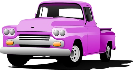 chevy: Old pink pickup with badges removed. Vector illustration