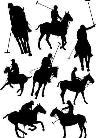 polo sport: Black and white polo players vector silhouette Illustration