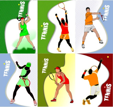 Six Posters of  tennis player. Colored Vector illustration for designers  Vector