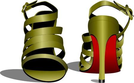 Fashion woman shoes. Vector illustration Stock Illustration - 9701088