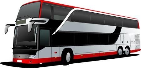 Double Decker  red bus. Tourist coach. Vector illustration illustration