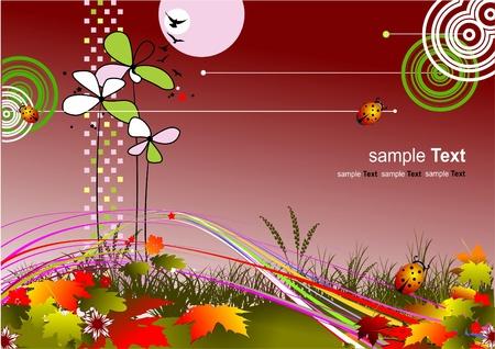 autumnally: Autumnal leaf background, vector illustration Stock Photo