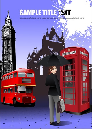 purple car: London images background. Vector illustration