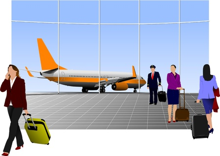airplane take off: Airport scene . Vector illustration for designers