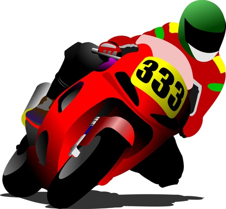 rally: Biker on the road. Vector illustration