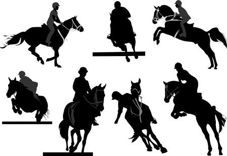 Siluetas de jinetes del caballo. Ilustración vectorial