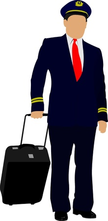 Pilot with suitcase. Vector illustration Stock Vector - 9721258