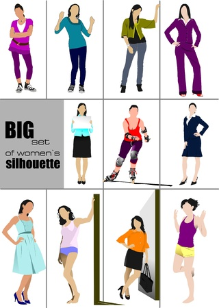 skates: Big set of women's` silhouette. Vector illustration Illustration