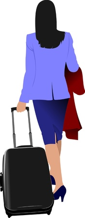 Business woman with suitcase. Vector illustration Stock Vector - 9722001