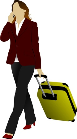 business people walking: Business woman with suitcase. Vector illustration Illustration