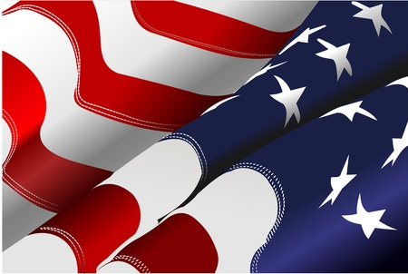 waving flag: 4th July – Independence day of United States of America. American flag. Vector Illustration
