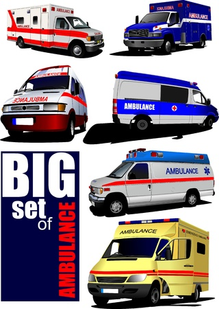 municipal: Big set of Modern ambulance va. Colored vector illustration