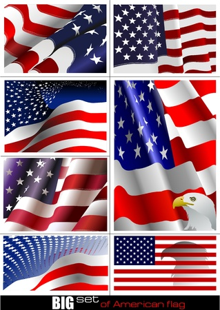 flag vector: 4th July – Independence day of United States of America. Big set of American flag. Vector illutration