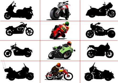 Big set of motorcycles. Black and white and color Vector illustrations Vector