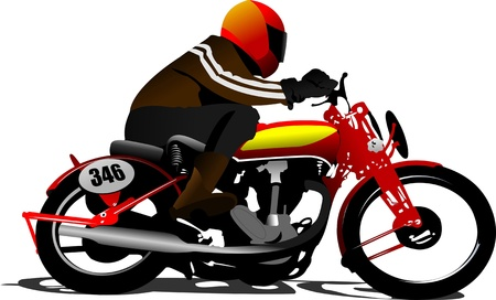 Biker on the road. Vector illustration Vector