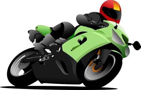 casco de moto: Motorista en la carretera. Ilustraci�n vectorial Vectores