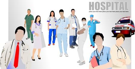 doctors and patient: Grupo de m�dicos y enfermeras en el hospital. Ilustraci�n vectorial