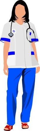 enfermero caricatura: Mujer de enfermera con smock del doctor blanco. Ilustraci�n vectorial