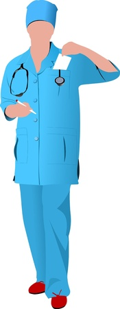 Nurse woman with white doctor`s smock. Vector illustration Vector