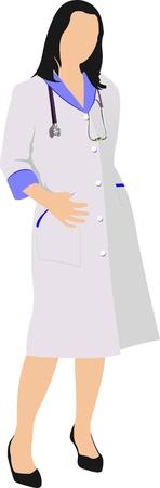medico caricatura: Mujer de enfermera con smock del doctor blanco. Ilustración vectorial