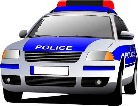 Police car. Municipal transport. Colored vector illustration. Stock Vector - 9722007
