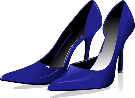 zapatos azules: Zapatos de mujer azul de moda. Ilustraci�n vectorial